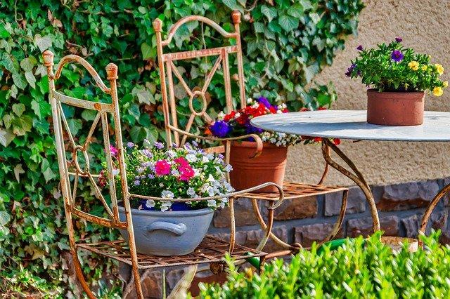meble ogród kwiaty